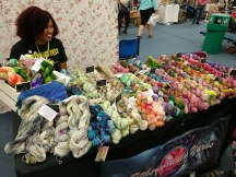Shameka of mekamekashop helps out with the Otherwordly Yarns stall
